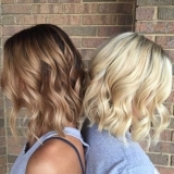 Caramel and Blonde Balayge both with Shoulder Length Cuts
